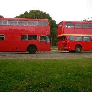 2 red buses
